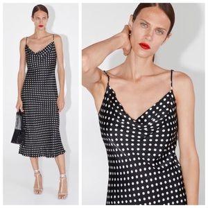 ZARA Polka Dot Maxi Slip dress